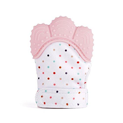 Gants bébé, jouets de dentition et douleurs dentaires apaisantes, bébés de 5 à 12 mois 100% Food Silicone(Quarlz Pink)