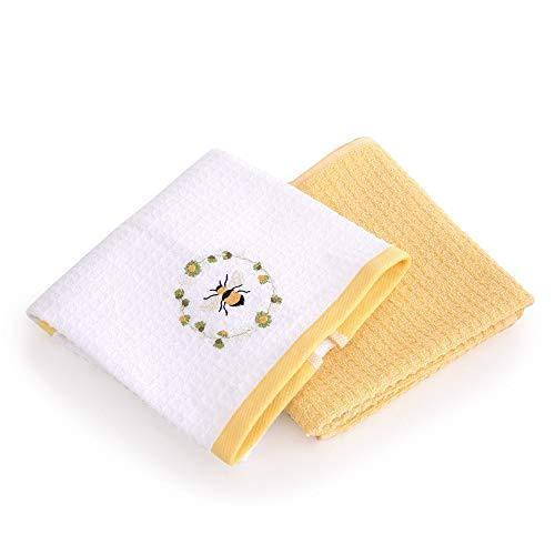 TAC Geschirrtücher Set 2er Pack saugstark 100% Baumwolle Küchentücher Trockentücher Cotton Handtuch gestrickter Motiv Mehrfarbig Qualität (Gelb - Bee - Biene) Gelb - Weiß 60x40cm
