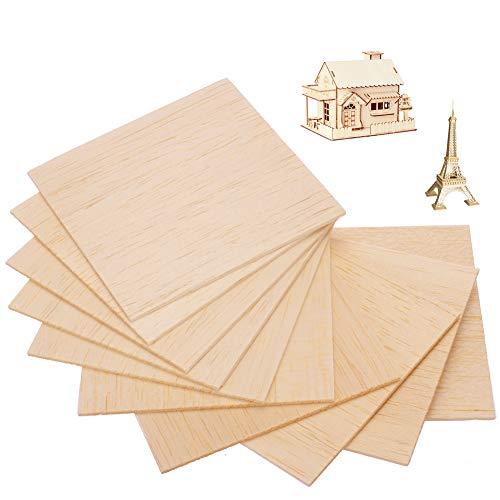 Balsa Fogli di legno,10 pezzi 200 x 200 x 1,5 mm sottili Balsawood,legno compensato di tiglio non verniciato,modello artigianale fai da te modello di legno per aeronavi modello di legno
