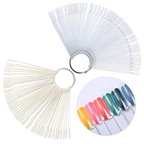 SANTOO 2 Ensembles de 100 Présentoirs pour Vernis à Ongles, Nuancier de Nail Art Cartes de Couleur Montrer Forme D'éventail, Transparentes et Naturelles