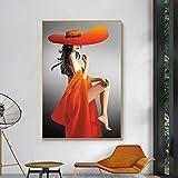 DCLZYF Moderno Abstracto Sexy Naranja Sombrero Grande Mujer Carteles Impresiones Lienzo Pinturas Pared Arte imágenes para decoración de Sala de estar-70x100cm (sin Marco)