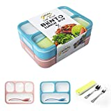Leakproof Bento Lunch Box Container For Kids and Adult Leakproof Containers with 3 and 4 Compartments - Tableware Set(Stainless Steel spoon and fork) - BPA Free Microwave and Dishwasher Safe