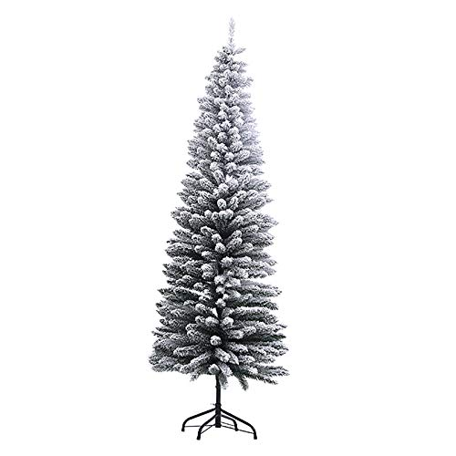 Flocked Pencil Pine Christmas Tree,Traditional Artificial Snow Frosted Xmas Tree PVC Sturdy Metal Stand Base for Indoor