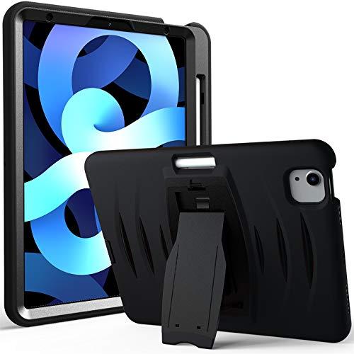 Funda para iPad Air 4 2020 de 10,9 Pulgadas, Cubierta Protectora Completa a Prueba de Golpes de Tres Capa con Kickstand & Soporte para Pen,Black