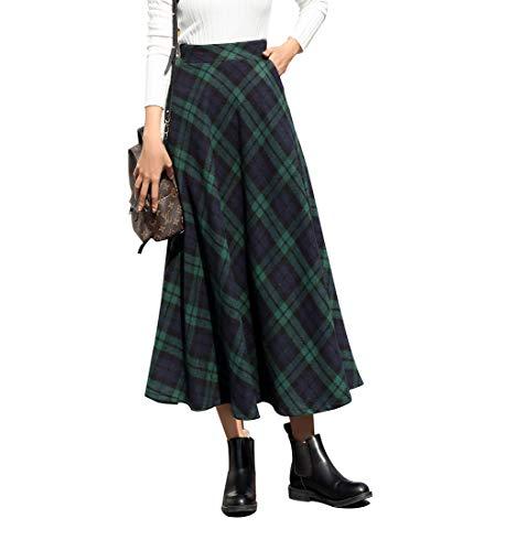 Rayas Cuadros Caliente Larga Falda Otoño de Las Mujeres y la Moda de Invierno Elegante Falda de Lana de Alta Cintura A-Line Cintura elástica (M (Cintura: 68-74 cm), Verde)