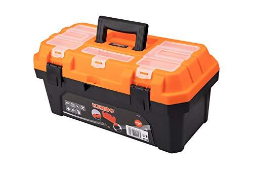 KENDO Werkzeugkoffer leer - Robuste Toolbox - Verschließbare Fächer - Aus leichtem und stabilem Kunststoff - Für Kleinteile und Werkzeug - 42 x 23 x 20 cm