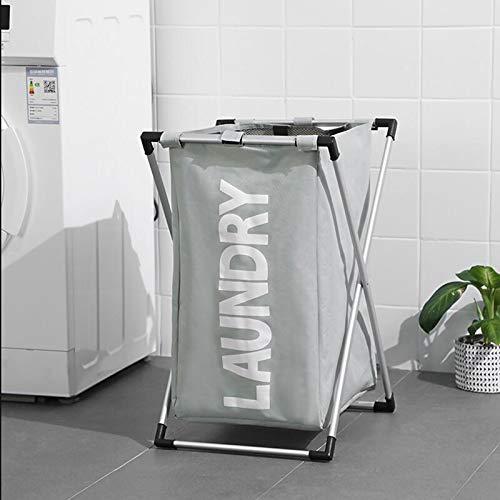 AMYHY Cesta plegable para ropa sucia, cesta de juguete de rejilla única, con marco de aleación de aluminio, bolsa de almacenamiento portátil para artículos de baño, dormitorio
