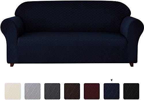 Stuhlbezüge, 1-teilige universelle Sofabezüge, Rhombus Pattern Stretch Sofabezug Sesselbezüge 1 2 3 4-Sitzer Polyester Spandex Anti-Rutsch-Couch Schonbezug für Haustiere (schwarz, 1 Sitzer/Stuhl)