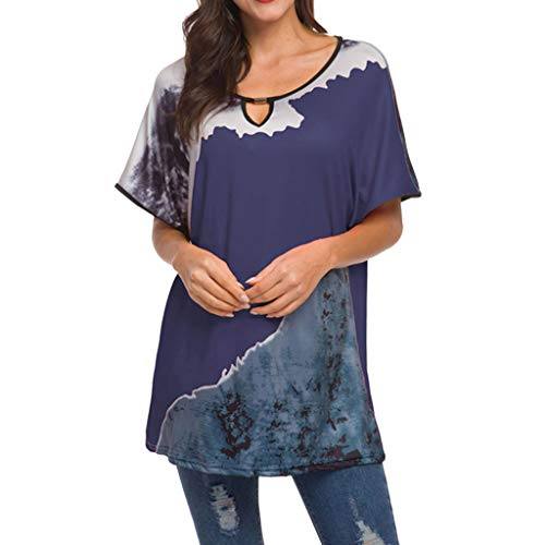 Why Choose iLUGU Women's Casual Flowy Short Sleeve Bat Holiday Fashion Round Neck Print Comfy Vacation Top Sexy Blouse Summer Navy