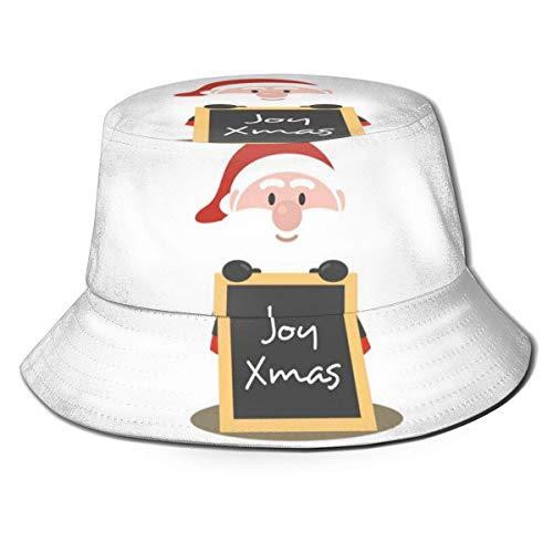 Xarchy Unisex Bucket Hat Santa Take The Christmas Logo Impreso Sombrero para el Sol al Aire Libre Summer Travel Outdoor Cap Black