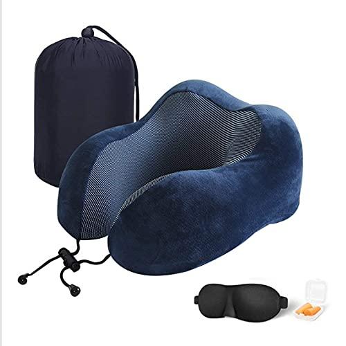 Cuscino da viaggio, comodo e di sostegno, cuscino cervicale per aereo, 100% memory foam, kit da viaggio con maschere per il sonno, tappi per le orecchie e custodia per aereo, auto, riposo per dormire