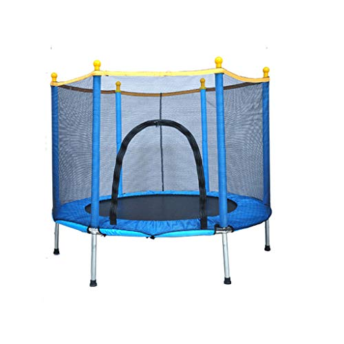 HYM 5FT Children's Trampoline, With Closed Net-shaped Jumping Mat And Spring Covering Pad, Outdoor Trampoline With Baby Guard, Easy To Assemble(Color:blue)