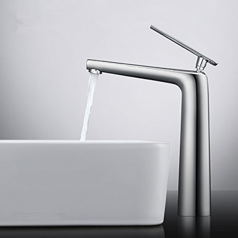 Bijjaladeva Wasserhahn Bad Wasserfall Mischbatterie Waschbecken Waschtisch Armatur für BadezimmerDas Kupfer Waschbecken Einloch Einzigen Griff heie und Kalte Silber Plus Hohe