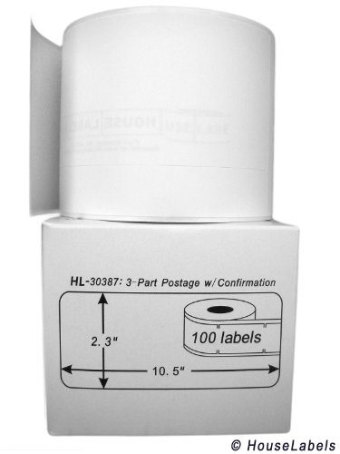 """50 Rolls; 100 Labels per Roll of Compatible with DYMO 30387 3-Part Internet Postage Labels (2-5/16"""" x 10-1/2"""") - BPA Free!"""