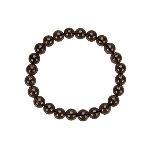 Pulsera de piedras preciosas, bolas, cuarzo ahumado, diámetro de 8mm