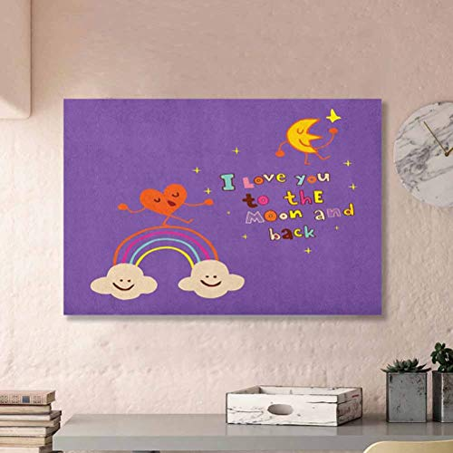 ParadiseDecor I Love You Wall Decor Valentines Bugs Heart Singing Over Rainbow Moon Dancing with Scars Beats Cartoon Violet L36 x H24 Inch