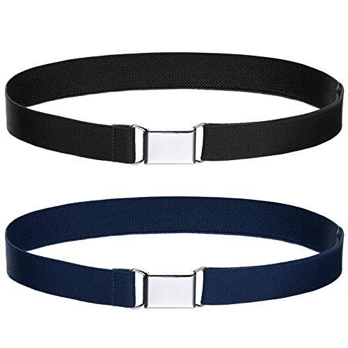 Toddler Kids Adjustable Buckle Belt - Elastic Child Silver Buckle Belts for Girls Boys by WELROG (Black/Navy blue)