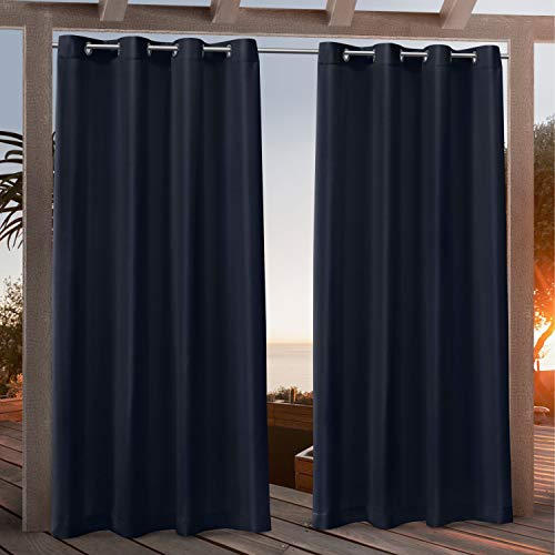 Exclusive Home Curtains Canvas Indoor/Outdoor Grommet Top Curtain Panel Pair, 54x84, Navy Blue
