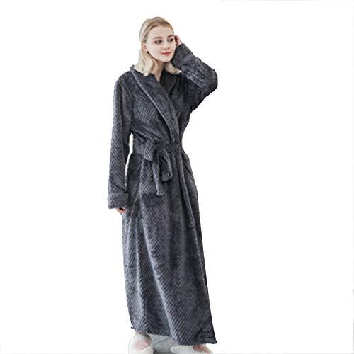 Albornoz de forro polar para mujer, suave, cálido, largo, con bolsillos, morado, XL