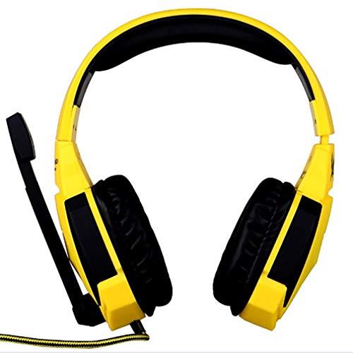 AnjaKD USB Auriculares De Juego, Ruido De Los Auriculares del Oído Que Cancela sobre con Micrófono, Luz del LED, Suave Memoria Orejeras, Estéreo del Juego Auricular Funciona con PC (Color : Yellow)