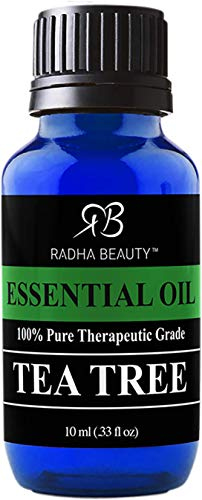 New Radha Beauty Tea Tree Essential Oil 10ml. - 100% Pure & Natural Premium Melaleuca Therapeutic Grade - Great with Soaps, Shampoo, Body Wash, Aromatherapy - Antifungal, Acne, Lice, & Nails