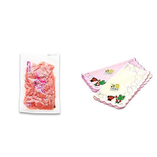 [2点セット] しな漬け(160g)・下呂温泉限定 さるぼぼ&げろぐるくん ふわふわタオルハンカチ【ピンク】