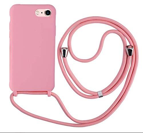 MEIVS Funda Compatible con iPhone 6/6S/7/8, Ajustable Collar Correa de Cuello CordónCarcasa de Silicona-Rosa