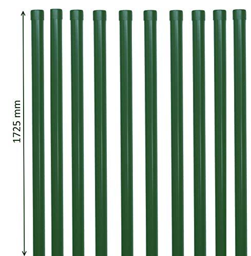 10 Stk. Zaunpfosten 1725 mm hoch Zaunpfahl in grün Pfosten Ø 34mm für Metallzaun aus Schweißgitter Draht
