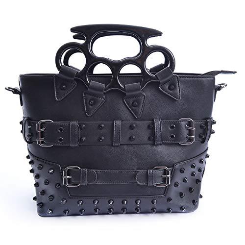 Vixxsin Pleaser Punk Goth Gotisk Nieten Tasche PU Leder Handtasche - Schwarz