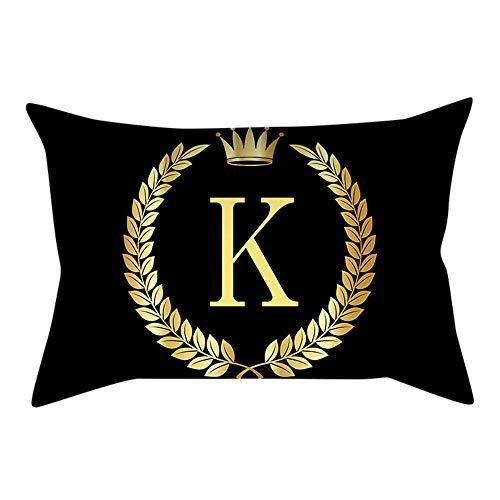 Kissenbezüge,Creative Schwarze Serie Letters Pattern Cotton Linen Dekorative Quadratische Kissenbezüge für Home Sofa Auto Decor, Baumwoll-Leinen,30 cm x 50 cm,1 Stück (K)