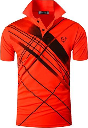 jeansian Camiseta Deportiva de Manga Corta para Hombre Polo Poloshirt tee Shirt Tshirt T-Shirt Bolos Dry Fit Golf Tenis LSL226 Orange L