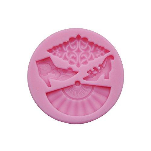 DeColorDulce éventail Moule 3D, Silicone, Rose, 16 x 10 x 3 cm