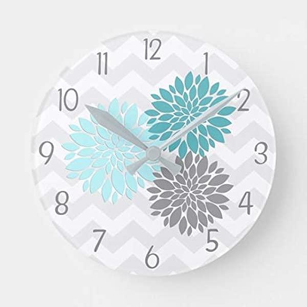 Enidgunter Teal Aqua Grey Dahlia Flower Nursery Large Wall Clock Decor For Bedroom Nursery Round Silent Wood Clock Art For Kids Girls Boys Room 12 Inches