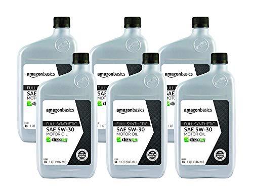 AmazonBasics Full Synthetic Motor Oil - 5W-30 - 1 Quart - 6 Pack