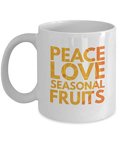 N\A Regalos para los Amantes de Las Frutas: 'Paz, Amor, Frutas de Temporada' - Frutas, Comida, Plantas, Paz, Amor, Temporada - Taza Blanca Taza de café de cerámica