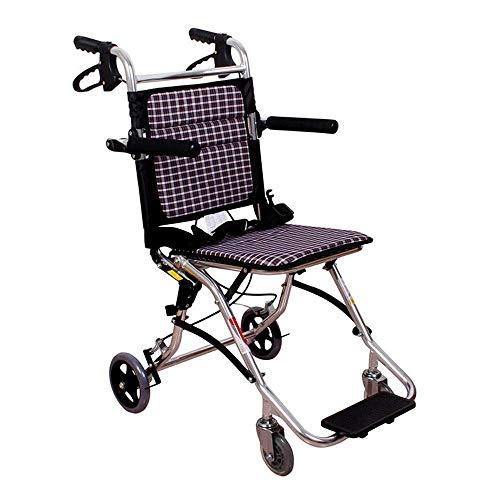 ZDW Silla de ruedas Silla de transporte ultraligera para adultos Unidad de manejo Médico Enfermería Personas Plegable portátil Adecuado para ancianos, discapacitados, pacientes de rehabilitación