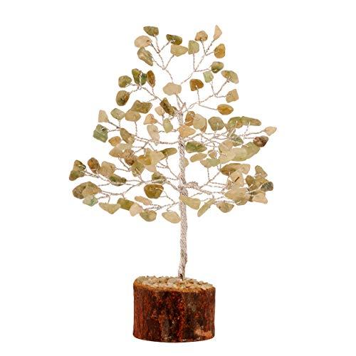 PYOR Green Jade Feng Shui Bonsai Money Tree Crystal Reiki Healing Aura Cleansing Home Decor Gift Item Silver Wire 7-8 Inch