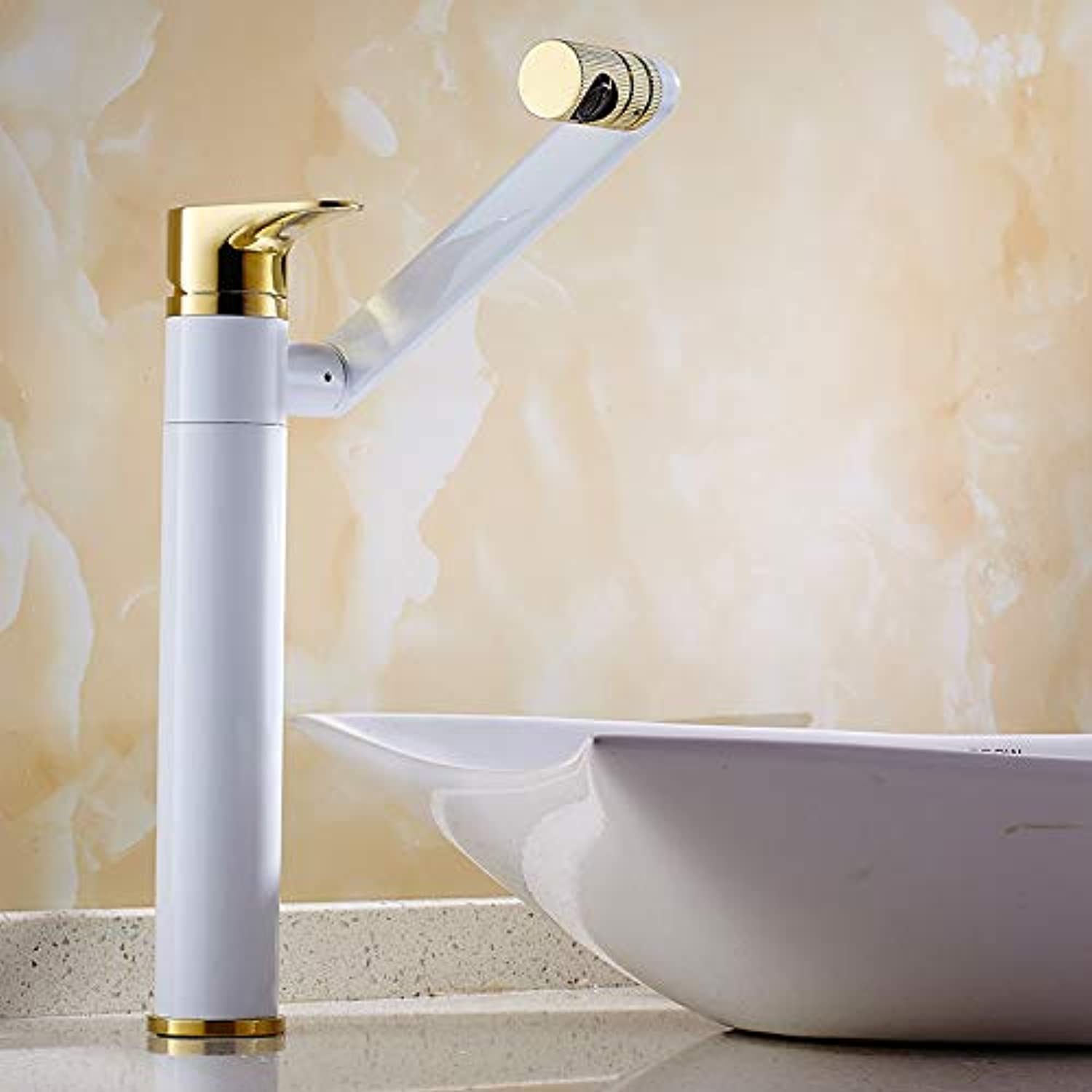 Tap Single Handle Bathroom Sink Faucet,Wash Basin Faucet _ All Copper Hot And Cold Basin Faucet Can Be 360 ??Degree gold Antique Wash Basin Basin Faucet, White Plus gold Plus High Money Lucky Cat
