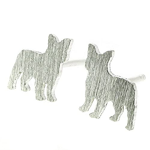 Frenchie French Bulldog Stud Earrings Brushed Sterling Silver Handmade in USA