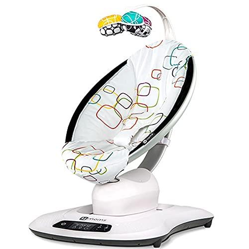 MENG TIAN Electric Baby Swing Alter Hüpfstuhl, mit Bluetooth-Musik natürlich in 5 Geschwindigkeiten und Fernbedienung, geeignet von Geburtstechnik/Neugeborenen,Silber