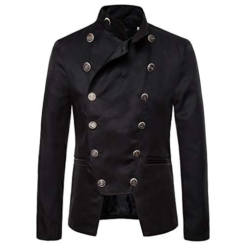 ZHANSANFM Herren Steampunk Jacke Button Down Gothic Einfarbig Blazer Military Elegant Stehkragen Mantel Outwear Vintage Viktorianischen Party Cosplay Kostüm Uniform für Männer (M, Schwarz)