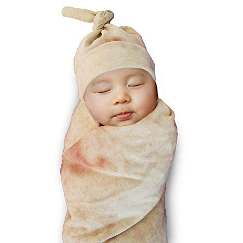 HongYiTime Burrito Wrap Novelty Blanket with Hat for Baby, Tortilla Blanket for Baby(33'' 85cm)