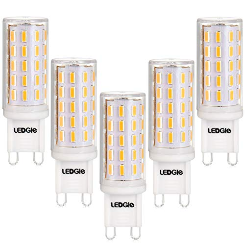 LEDGLE Versione migliorata 5 x G9 LED Lampadine del 6W Nessun Sfarfallio, 54-LED SMD4014, Angolo di Fascio di 360 ° 420 Lumen Pari ad Alogene da 60W per l'illuminazione Lnterna 2800K-Bianco Caldo