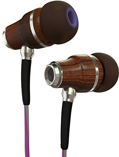 Symphonized NRG 3.0 Houten Oordopjes voor Mobiele Telefoon, Laptop & Computer, In-Ear Geluidsisolerende Koptelefoon met Microfoon & Volumeregeling, Oordopjes met Dreunende Bas (Paars & Grijs)