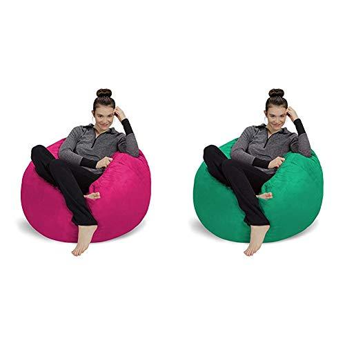 Sofa Sack - Plush, Ultra Soft Bean Bag Chair - Memory Foam Bean Bag Chair - Magenta 3' & Plush, Ultra Soft Bean Bag Chair - Memory Foam Bean Bag Chair with Microsuede Cover - Aqua Marine 3'
