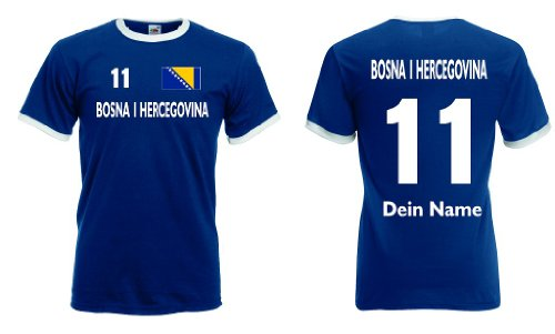 Fruit of the Loom Bosna Herzegovina Retro T-Shirt mit Wunschname & Nummer Trikot|m