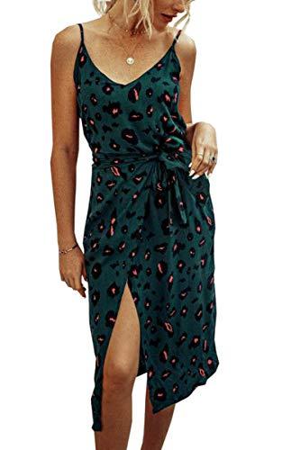 Spec4Y Damen Kleider Lang Blumen Sommerkleider V Ausschnitt Spaghetti Ärmellos Strandkleid mit Schlitz X-Large 234 Grün