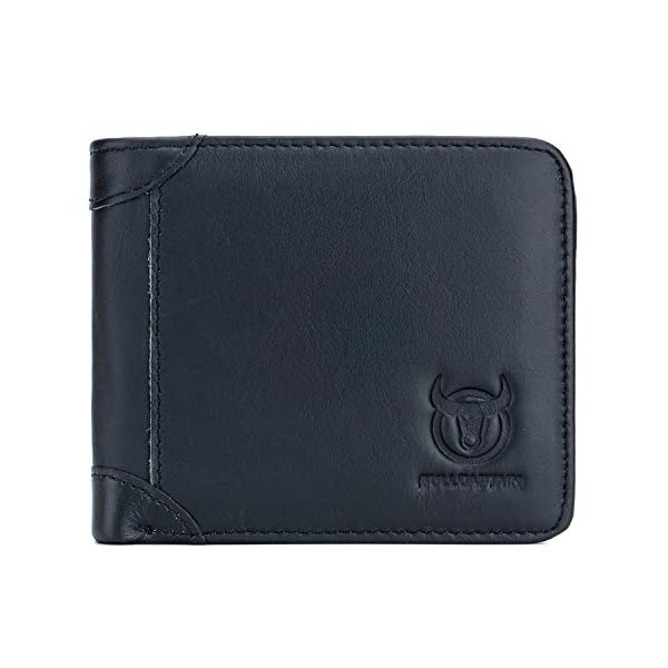 BULLCAPTAIN Slim Bi-fold RFID Blocking Leather Wallet for Men with 10 Credit Card Pockets and Removable Id Window QB031H 1