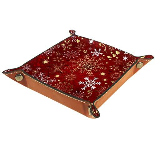 Caja de almacenamiento pequeña, bandeja de valet para hombre,Modelo inconsútil rojo de la Navidad con el oro y los copos de nieve blancos ,Organizador de cuero para llaves de caja de monedas