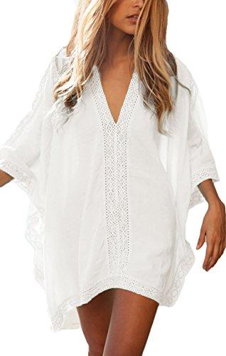 Huixin Fashion Damen Strandkleid Bikini Cover Up Sommer Elegant Casual Strandmode Tunika V-Ausschnitt Mode Locker Fledermausärmel Bluse Weiß Bohemian